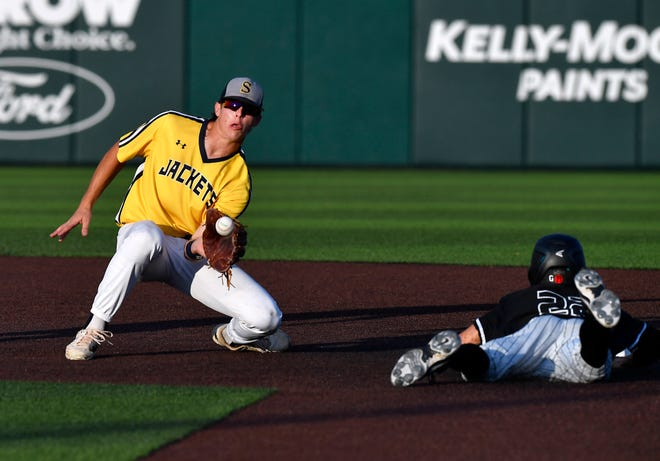 Stephenville shortstop Trace Morrison catches the ball as Argyle's Hayden Stewart makes is safely to second base during a Region I-4A final game June 3 at Abilene Christian University's Crutcher Scott Field.