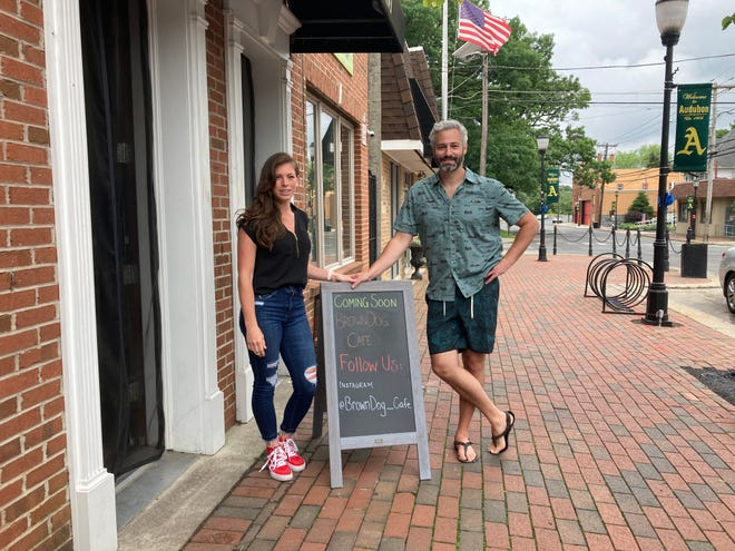 Kate Powell and John Gordon plan to open Brown Dog Café on Merchant Street in Audubon in early July. The couple both attended Audubon High School, left the area and reconnected with each other when they returned.