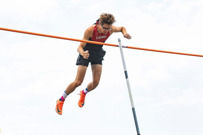 """Liberty Union's Jimmy Rhoads took second place in the boys pole vault with a height of 14'10"""" at the 2021 OHSAA Division II State Track and Field Championships at Pickerington High School North on June 4, 2021."""