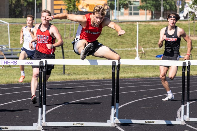 Westfall's Marcus Whaley took fourth place in the boys 300 hurdles prelim with a time of 39.26 at the 2021 OHSAA Division II State Track and Field Championships at Pickerington High School North on June 4, 2021.
