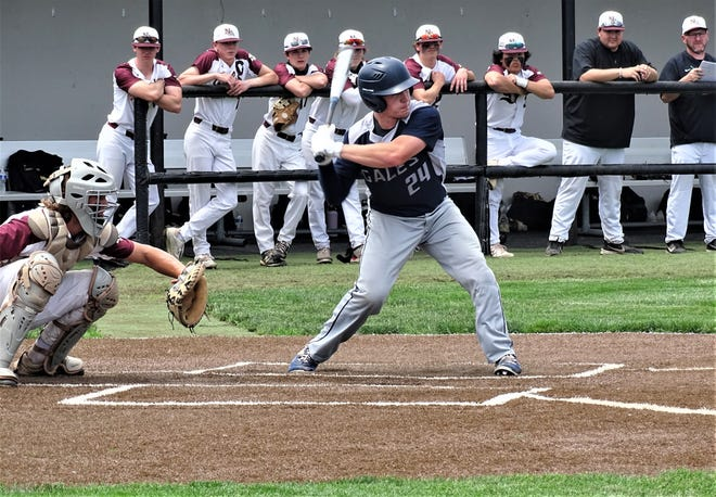 Lancaster's Ajay Locke gets set to take a swing against New Albany during Friday's 4-2 Davison I regional semifinal loss to the Eagles at Dublin Coffman High School.