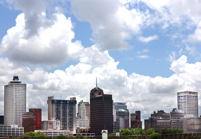 The Downtown Memphis skyline seen from the Hernando De Soto bridge on Thursday, June 3, 2021.