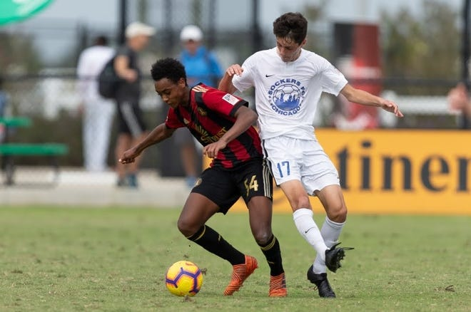 Kobey Stoup playing for Atlanta United's academy team.