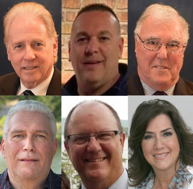 Clockwise, from top left, Republican candidates for Hawthorne Borough Council: Councilman Bruce Bennett, Michael Doyle, Councilman Dominic Mele, Anna Marie Sasso, Jay Shortway and Philip Speulda.