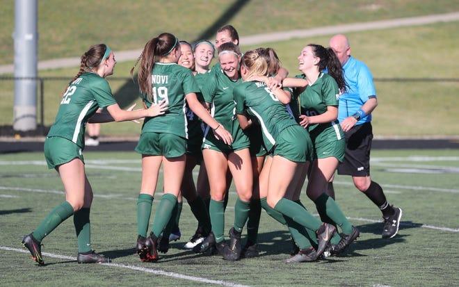 Novi celebrates after Eva Burns scores its only goal of the game against Northville.