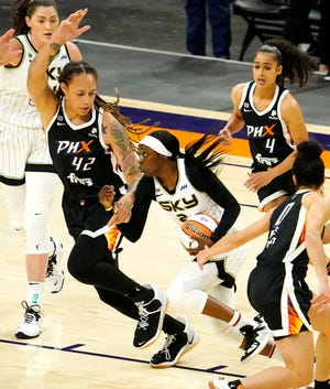 Jun 3, 2021; Phoenix, Arizona, USA; Phoenix Mercury center Brittney Griner (42) shadows Chicago Sky guard Kahleah Copper (2) at Suns Arena. Mandatory Credit: Rob Schumacher-Arizona Republic