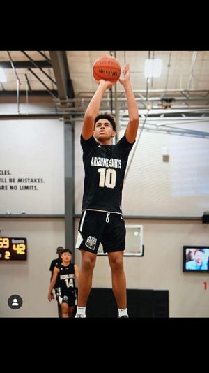 Koa Peat, a 6-foot-7, 14-year-old basketball phenom, will play his high school basketball at Perry. Photo courtesy of Cassius Peat
