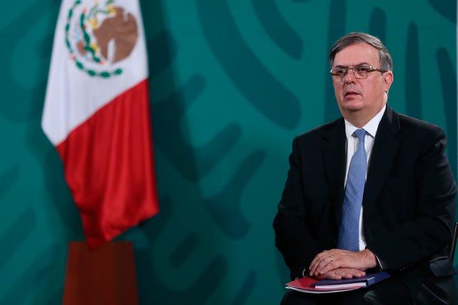 El secretario de Relaciones Exteriores (SRE), Marcelo Ebrard, durante una rueda de prensa matutina del presidente de México Andrés Manuel López Obrador, en Palacio Nacional de la Ciudad de México.