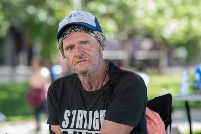 Floyd Ard has been homeless in Reno for three years. He is upset with the ongoing sweeps and posed for a portrait on June 4, 2021.