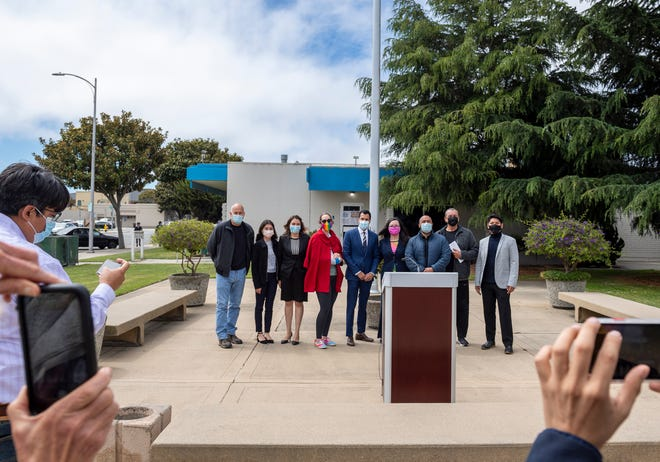 Government officials for Salinas, Monterey County and California are photographed together outside city hall in Salinas, Calif., on Friday, June 4, 2021.