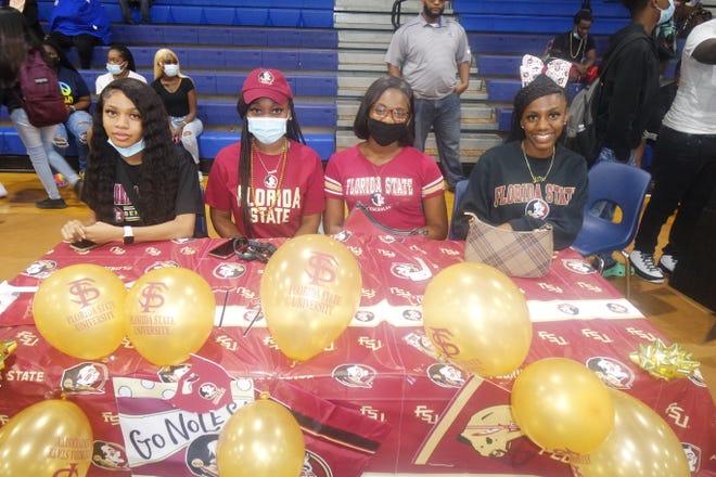 FSU Gadsden County Upward Bound 12th-graders Lakenya Brown, Danielle Baker, Tee'Anna Weston and Ja'Mia Brown will begin the Florida State University CARE program in June.