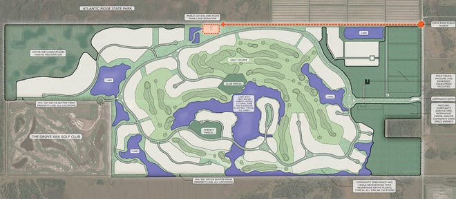 Site plans show the proposed Atlantic Fields community on Southeast Bridge Road in Hobe Sound. It would have 317 luxury homes with a private golf course and restored wetlands.