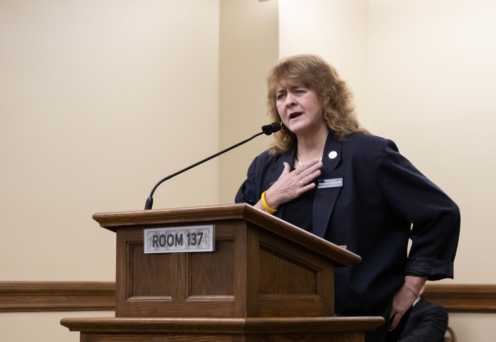 Idaho State Rep. Barbara Ehardt, R-Idaho Falls, testifies in January in support of a Montana bill that would ban transgender women and girls from competing in high school and college women's sports. The bill was very similar to Ehardt's own bill, drafted by the Alliance Defending Freedom, which was signed into law in Idaho last year and is currently embroiled in legal battles at the federal level.