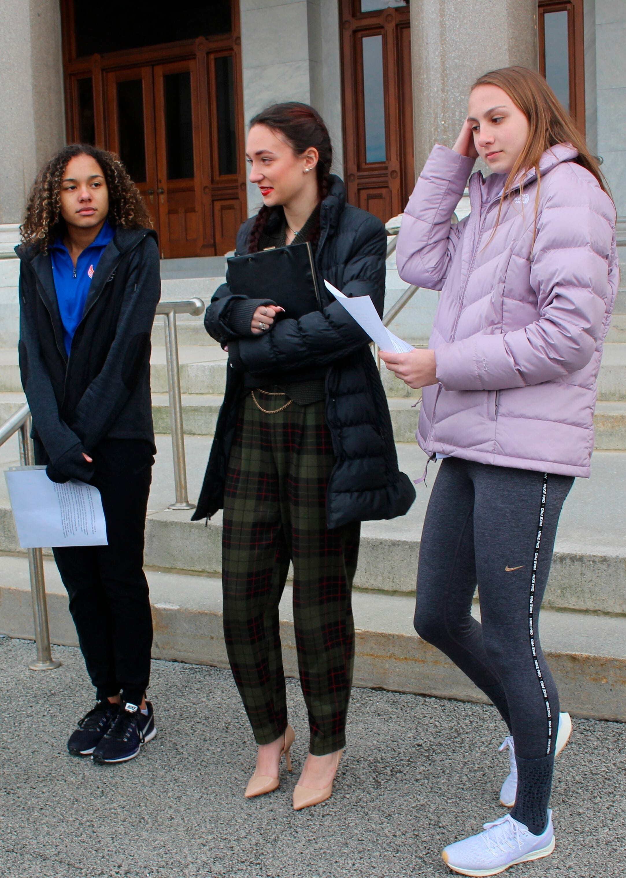 High school track athletes Alanna Smith, left, Selina Soule, center, and Chelsea Mitchell were the original plaintiffs in a lawsuit the Alliance Defending Freedom filed in February 2020. They sought to block a state policy that allows transgender athletes to compete in girls sports.