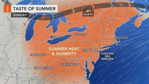 A heat wave will overspread the northeastern U.S. over the next several days, forecasters said.