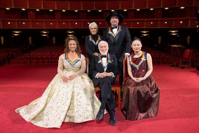 Kennedy Center Honorees (from left) Debbie Allen, Joan Baez, Dick Van Dyke, Garth Brooks, and Midori.