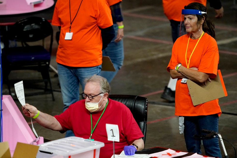 Maricopa County ballots cast in the 2020 general election are examined and recounted by contractors working for Florida-based company, Cyber Ninjas at Veterans Memorial Coliseum in Phoenix.
