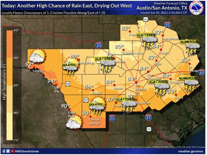 Rain chances will increase again today into the early evening with some Locally heavy rainfall possible mainly east of I-35. Isolated areas of flooding remain possible. Temperatures will remain below normal today across most areas, but near normal temperatures and drier conditions are expected near the Rio Grande
