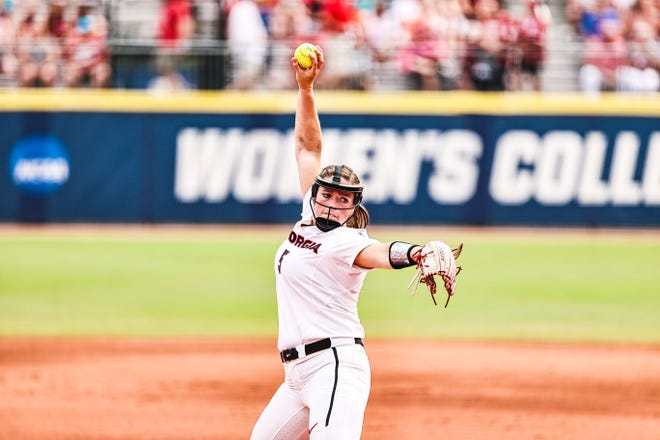 Georgia pitcher Mary Wilson Avant (5) during the BulldogsÕ game against Oklahoma at the 2021 NCAA WomenÕs College World Series at USA Softball Hall of Fame Stadium in Oklahoma City, Okla., on Saturday, June 5, 2021. (Photo by Tony Walsh)