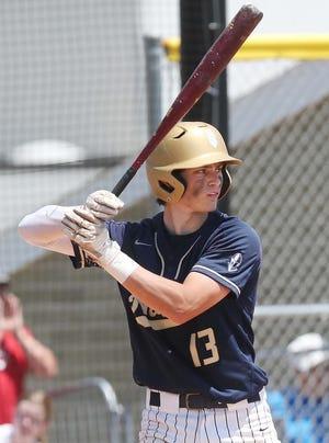 Hoban's Nolan Holmgren at bat against Salem during the teams' Division II regional final game Saturday, June 5, 2021 in Canton, Ohio. [Karen Schiely / Akron Beacon Journal]