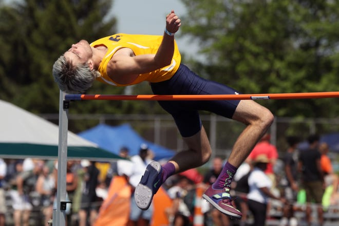Tallmadge's Riley Murphy competes in the high jump during the Division I State Track and Field Tournament on June 5, 2021, at Hilliard Darby High School in Hilliard, Ohio.