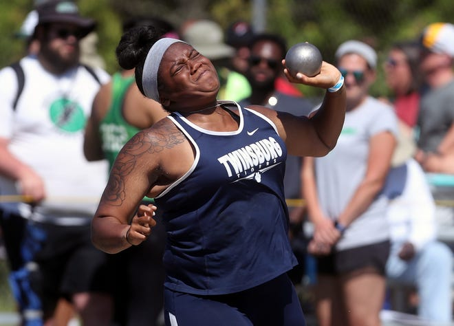 Twinsburg's Nighyah Carthen competes in the shot put during the Division I State Track and Field Tournament on June 5, 2021, at Hilliard Darby High School in Hilliard, Ohio.