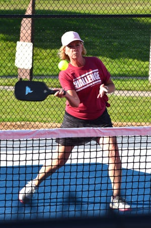 Marcy King represents Ardmore City Schools during the Corporate Fitness Challenge pickleball tournament Thursday, June 3, 2021.
