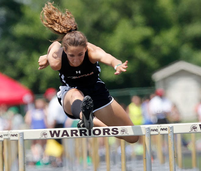 Lucas High School's Shelby Grover competes in the 100 meter hurdles at the OHSAA Division III State Track Meet Friday, June 4, 2021 at Westerville North High School. TOM E. PUSKAR/TIMES-GAZETTE.COM