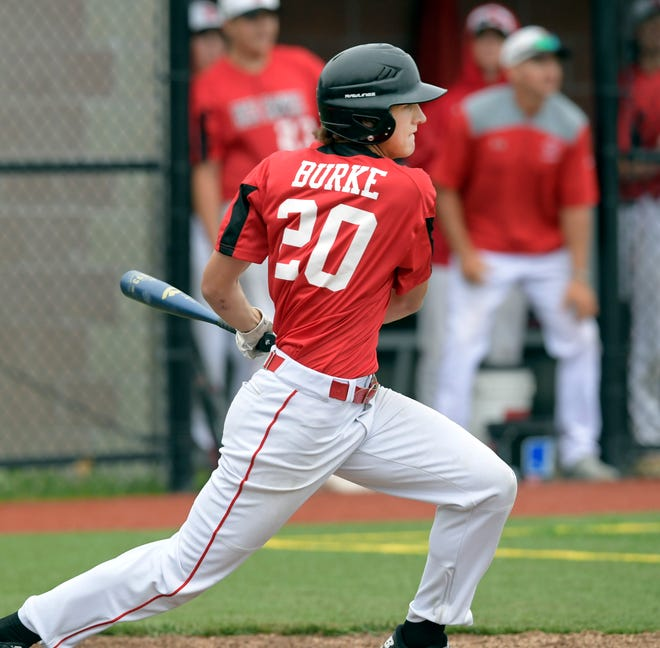 Braden Burke of Barnstable gets hold of a Dennis-Yarmouth pitch to bring in a run in the third inning Friday.