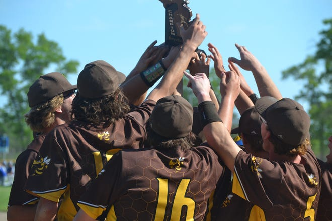 Pellston baseball players hold up the trophy after defeating Inland Lakes 6-4 in a Division 4 district championship contest at Cooperation Park in Indian River on Friday.
