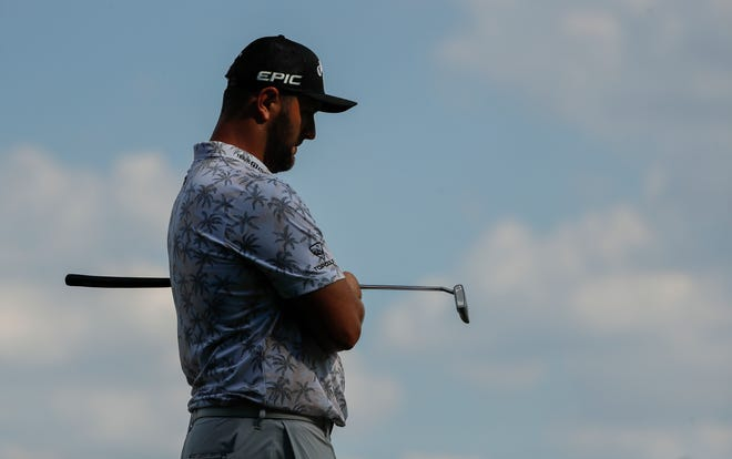 Jon Rahm waits to putt on 15 during the third round of the Memorial Tournament at Muirfield Village Golf Club in Dublin, Ohio on Saturday, June 5, 2021. Rahm was forced to withdraw from the tournament after a positive COVID-19 test.