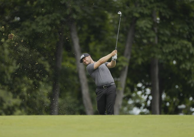 David Lingmerth hits his second shot on the 9th hole during the second round of the Memorial Tournament at Muirfield Village Golf Club in Dublin, Ohio on Friday, June 4, 2021.