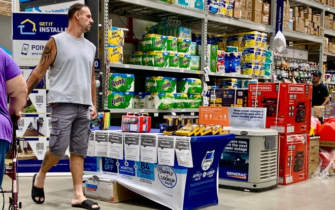 A display at Lowes in Palm Coast with items that qualify for the hurricane tax break.