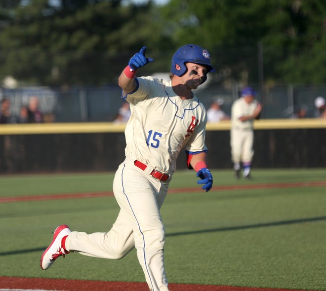 Sam Crowell celebrates a home run during the Larks' opener. The Larks will celebrate their 75th anniversary on Friday night against the Denver Cougars.