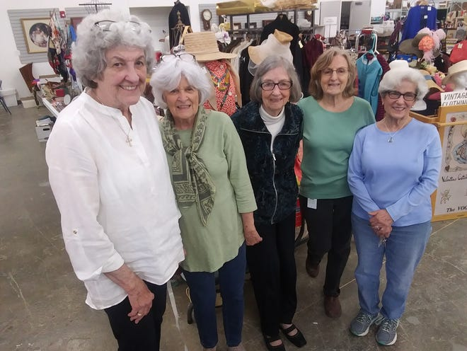 These women, all Monroe County History Center volunteers in their 80s, are among those in charge of the annual garage sale. From left are: Sue Ellen Bowman, Mary Ellen Kerber, Gayle Cook, Mary Lee Deckard and Kathy McFall.