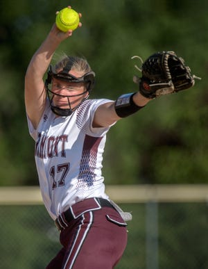 Tremont pitcher Paige McAllister throws against IVC during their Class 2A Softball Regional title game Friday, June 4, 2021 in Tremont. The Turks defeated the Grey Ghosts 3-2.