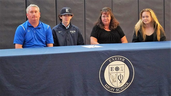 Exeter High School senior Jason Bickford will play baseball next year at Fitchburg State University, a Division III program in the Massachusetts State Collegiate Athletic Conference (MASCAC) conference. The Exeter resident, seated with his parents, Kevin and Wende and sister, Kriste, plans to study Mechanical Engineering and Architectural Design.