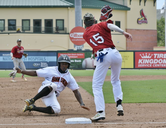 Jeremiah Thomas of Royal Palm Beach steals third base during Saturday's Dick Howser All-Star Showcase. He was a constant presence on the base paths in the 5-2 win for the North.