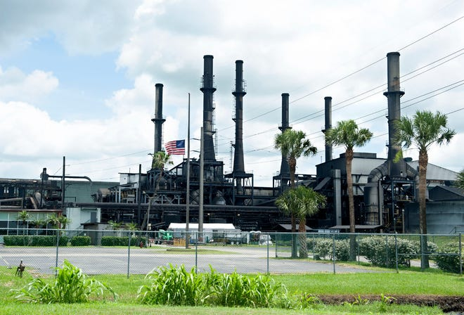 The American flag flies at half-staff at the Sugar Cane Growers Cooperative of Florida in Belle Glade on Saturday. Felix Cabrera, 86, is accused of shooting and killing a 67-year-old manager who fired him Friday.