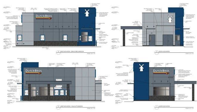 Four elevations of a proposed new Dutch Bros Coffee are shown in a Ridgecrest Planning Commission agenda.  The top left image is the side that would face China Lake Boulevard.