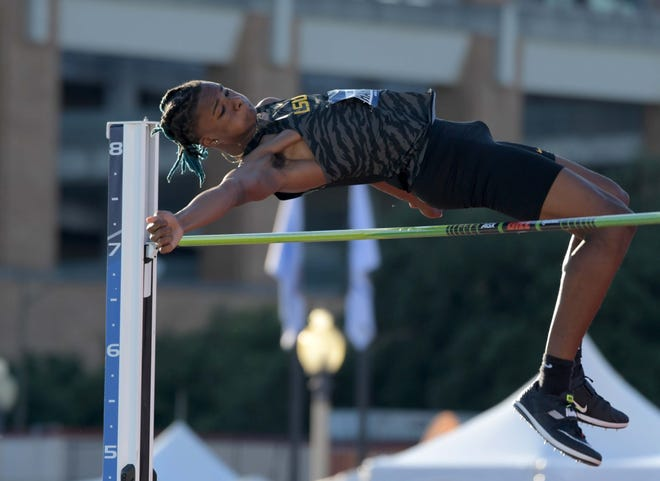 JuVaughn Harrison of LSU wins the high jump during the 2019 NCAA Track & Field Championships.