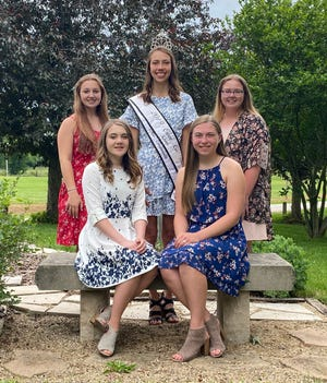 The 2021 Owen County Fair Princess candidates are, front row, from left: Bella Bradley and Norah Beeman. Back row: Lola James, 2019 Queen Kara Schafer and Billie Jo Showecker.