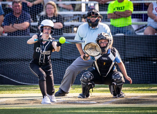 Sacred Heart-Griffin's Ellie Rockford (7) lays down a bunt against North Mac in the third inning during the Class 2A Regional at Comstock Field in Springfield, Ill., Friday, June 4, 2021. [Justin L. Fowler/The State Journal-Register]