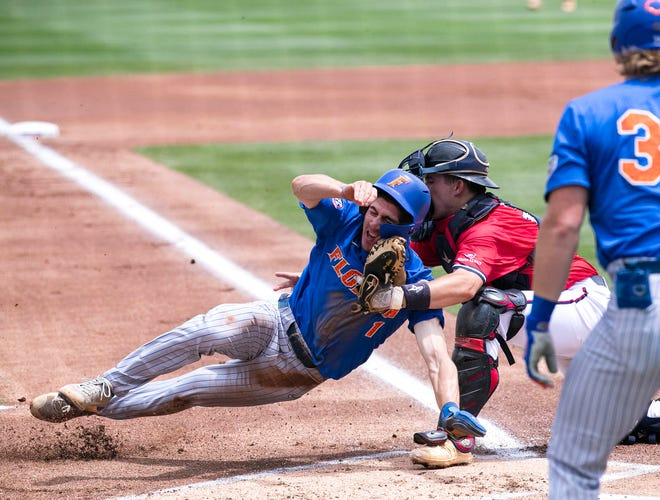Things started to turn for the worse in the first inning Saturday for Florida in the NCAA Gainesville Regional elimination game against South Alabama at Florida Ballpark. Baserunner Jacob Young was thrown out at home plate trying to score on a shallow flyball to left field.