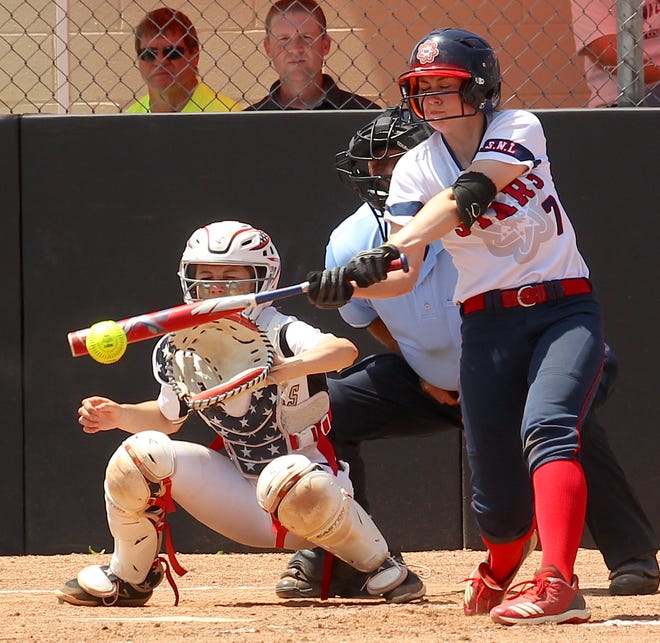 BNL junior shortstop Carlee Kern scorches a single leading off the top of the seventh for one of the Stars' two hits in the Center Grove Semistate.