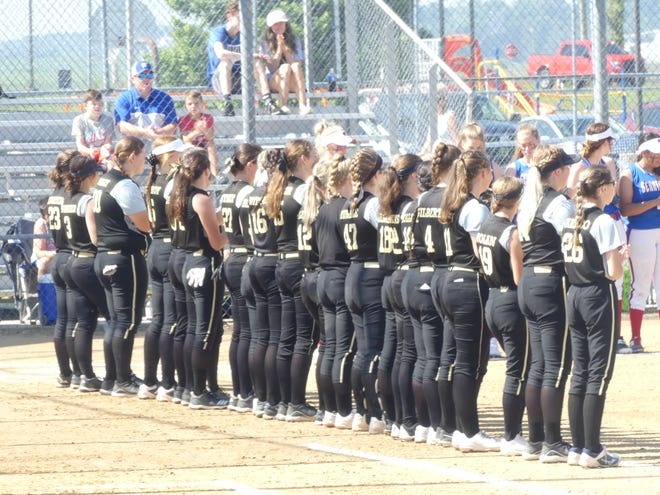The Loogootee softball team stands together prior to its semistate matchup with West Washington on Saturday.