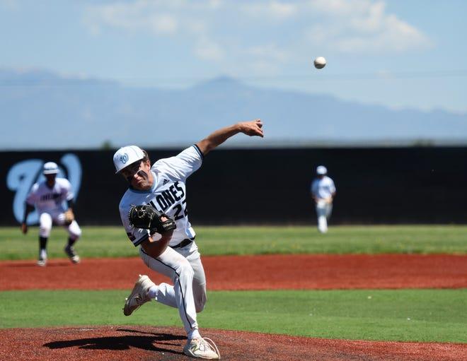 Pueblo West High School senior Jace Schlegel pitches in a game against Pueblo East, Saturday morning.
