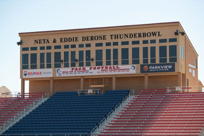 The name Neta & Eddie DeRose ThunderBowl will be removed as Friends of Football has gifted Colorado State University Pueblo the stadium.