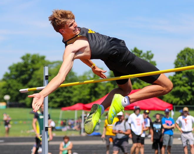 Colonel Crawford's Carter Valentine competes in the boys high jump event during the state Division III track meet at Westerville North High School in Westerville, Ohio, on June 5, 2021,