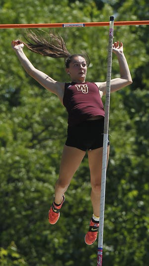 Walsh Jesuit's Abby Knouff won the pole vault at the Division I State Track and Field Tournament on Saturday June 5, 2021 at Hilliard Darby.